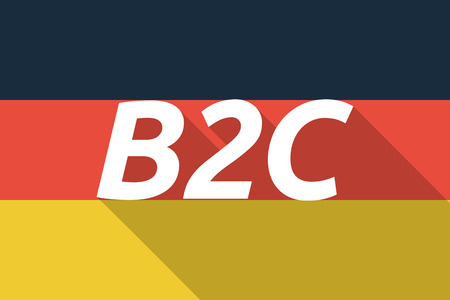 b2c: Illustration of a Long shadow Germany flag with    the text B2C Illustration