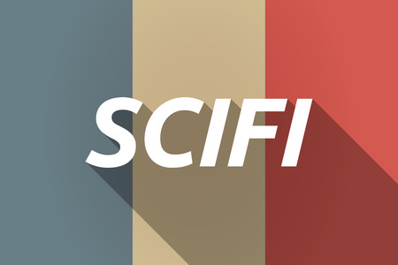 speculative: Illustration of a Long shadow France flag with    the text SCIFI
