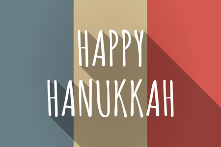 happy hanukkah: Illustration of a Long shadow France flag with    the text HAPPY HANUKKAH