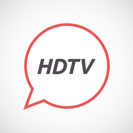 hdtv: Illustration of an isolated line art comic balloon icon with    the text HDTV