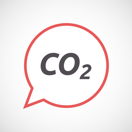 co2: Illustration of an isolated line art comic balloon icon with    the text CO2 Illustration