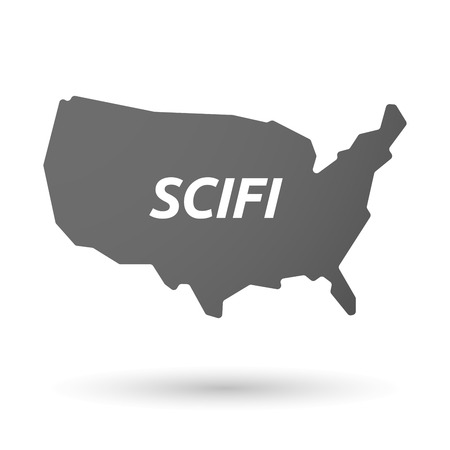 speculative: Illustration of an isolated USA map icon with    the text SCIFI