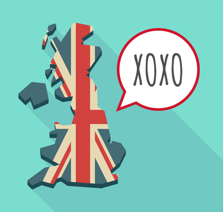 xoxo: Illustration of a long shadow United Kingdom map and a comic balloon with    the text XOXO
