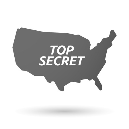 secrecy: Illustration of an isolated USA map icon with    the text TOP SECRET