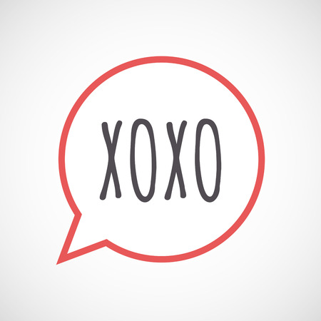 xoxo: Illustration of an isolated line art comic balloon icon with    the text XOXO Illustration