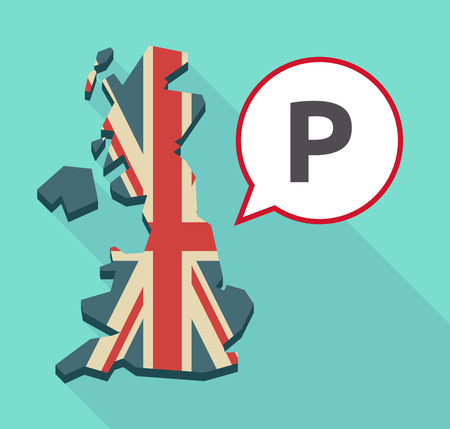 valet: Illustration of a long shadow United Kingdom map and a comic balloon with    the letter P