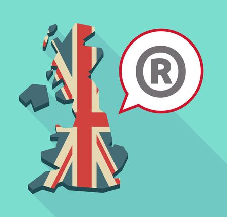 Illustration d'une longue ombre Royaume-Uni carte et un ballon comique avec le symbole de marque déposée Banque d'images - 59257268