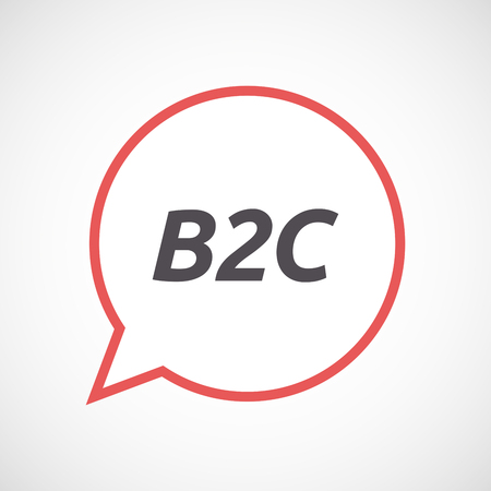 b2c: Illustration of an isolated line art comic balloon icon with    the text B2C