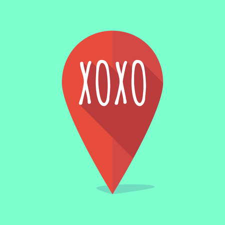 xoxo: Illustration of a long shadow map mark with    the text XOXO Illustration