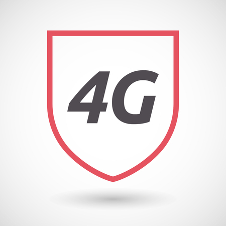 4g: Illustration of an isolated line art shield with    the text 4G Illustration