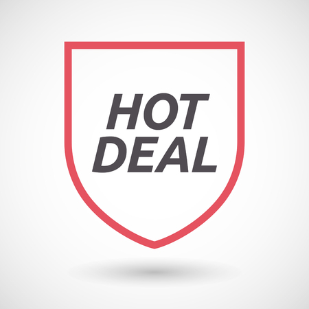 hot deal: Illustration of an isolated line art shield with    the text HOT DEAL