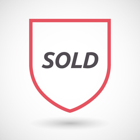 sold isolated: Illustration of an isolated line art shield with    the text SOLD Illustration