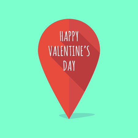 position d amour: Illustration of a long shadow map mark with    the text HAPPY VALENTINES DAY Illustration