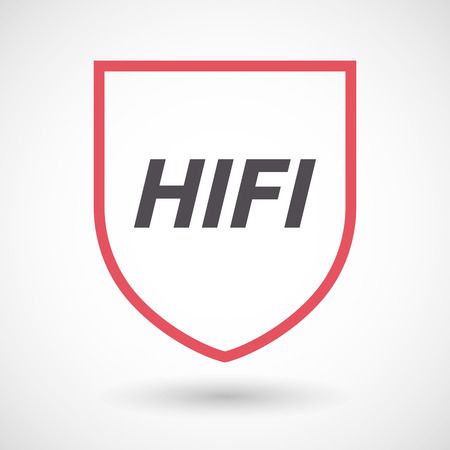Illustration of an isolated line art shield with    the text HIFI Illustration
