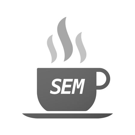 sem: Illustration of an isolated coffee mug icon with    the text SEM