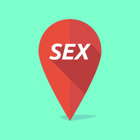 sex positions: Illustration of a long shadow map mark with    the text SEX