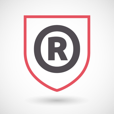 trademark: Illustration of an isolated line art shield with    the registered trademark symbol