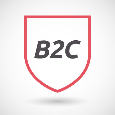 b2c: Illustration of an isolated line art shield with    the text B2C Illustration