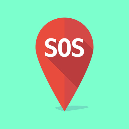sos: Illustration of a long shadow map mark with    the text SOS