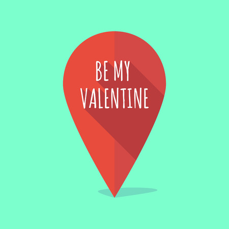 position d amour: Illustration of a long shadow map mark with    the text BE MY VALENTINE