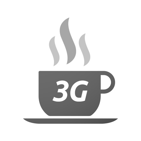 3g: Illustration of an isolated coffee mug icon with    the text 3G Illustration