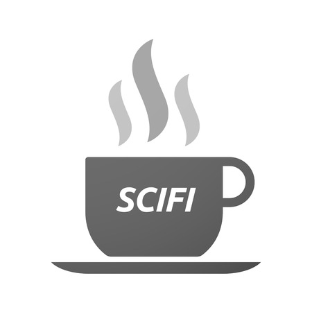 speculative: Illustration of an isolated coffee mug icon with    the text SCIFI