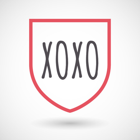 xoxo: Illustration of an isolated line art shield with    the text XOXO