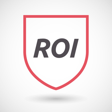 Illustration of an isolated line art shield with    the return of investment acronym ROI