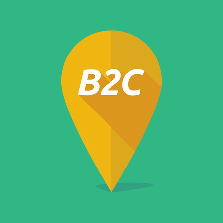 b2c: Illustration of a long shadow map mark with    the text B2C