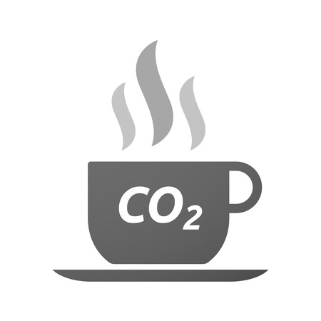 carbon emission: Illustration of an isolated coffee mug icon with    the text CO2
