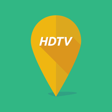 Illustration of a long shadow map mark with    the text HDTV