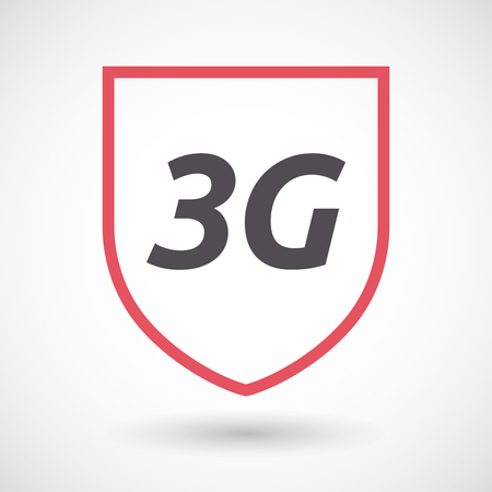 3g: Illustration of an isolated line art shield with    the text 3G Illustration