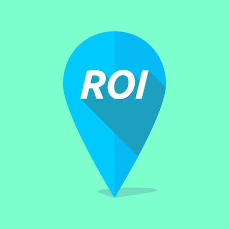 financial position: Illustration of a long shadow map mark with    the return of investment acronym ROI