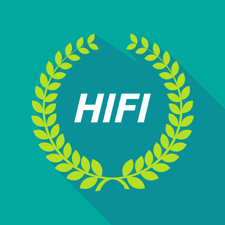 hifi: Illustration of a long shadow laurel wreath with    the text HIFI