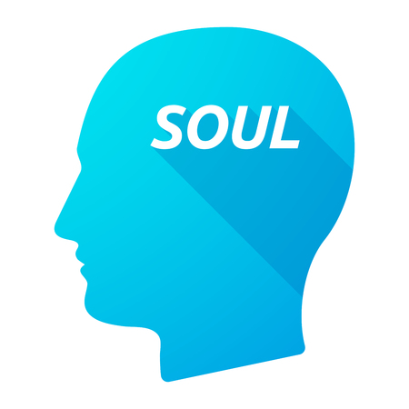 the soul: Illustration of an isolated long shadow male head with    the text SOUL Illustration