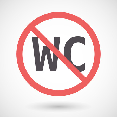 Illustration of an isolated forbidden signal with the text WC
