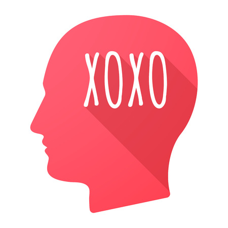 Illustration of an isolated long shadow male head with    the text XOXO