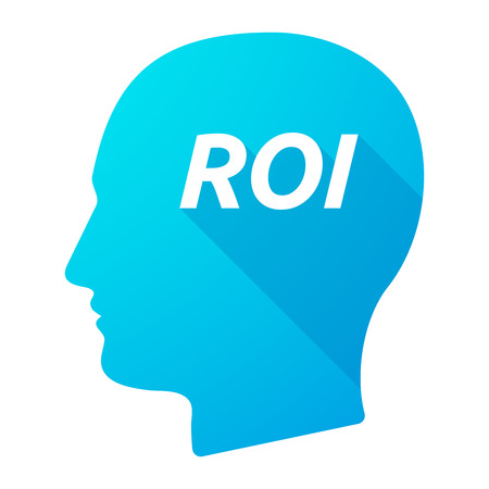 Illustration of an isolated long shadow male head with    the return of investment acronym ROI Illustration