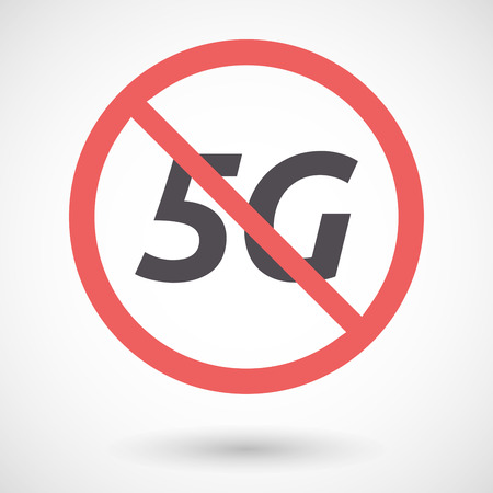 denial: Illustration of an isolated forbidden signal with    the text 5G