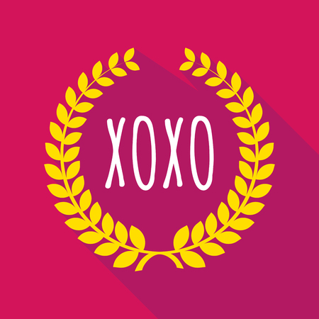 xoxo: Illustration of a long shadow laurel wreath with    the text XOXO Illustration