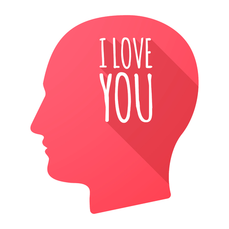 head i: Illustration of an isolated long shadow male head with    the text I LOVE YOU