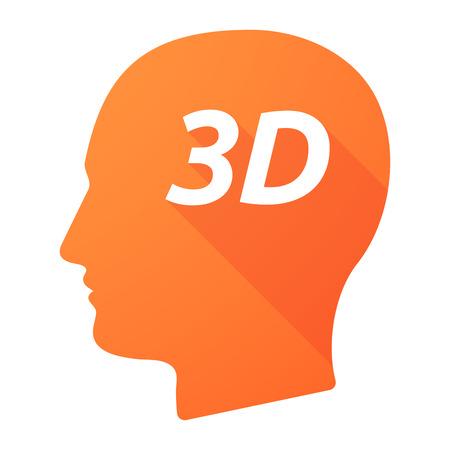 Illustration d'une tête masculine isolée à longue ombre avec le texte 3D