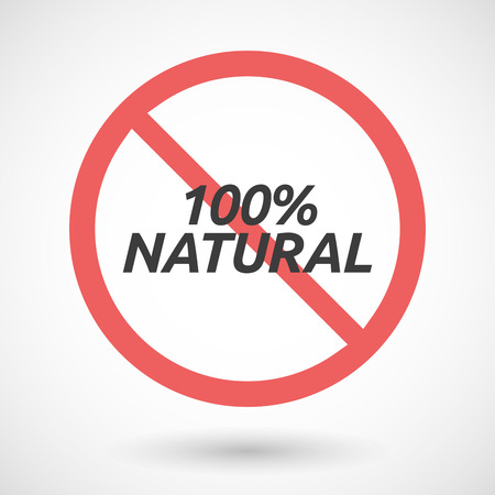 denial: Illustration of an isolated forbidden signal with    the text 100% NATURAL