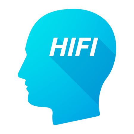 Illustration of an isolated long shadow male head with    the text HIFI