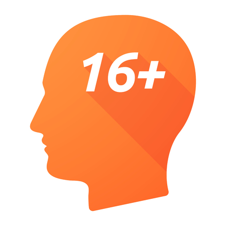 approval rate: Illustration of an isolated long shadow male head with    the text 16+