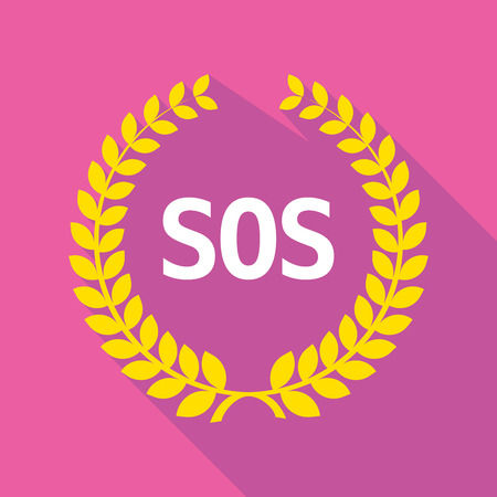sos: Illustration of a long shadow laurel wreath with    the text SOS