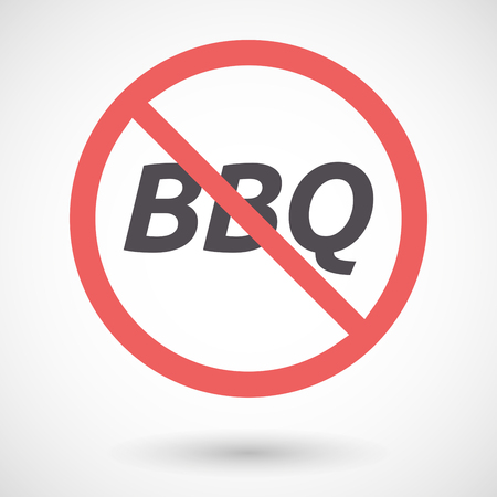 negation: Illustration of an isolated forbidden signal with    the text BBQ