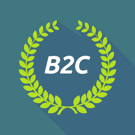 b2c: Illustration of a long shadow laurel wreath with    the text B2C Illustration