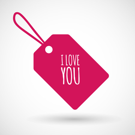 i label: Illustration of an isolated product label icon with    the text I LOVE YOU Illustration
