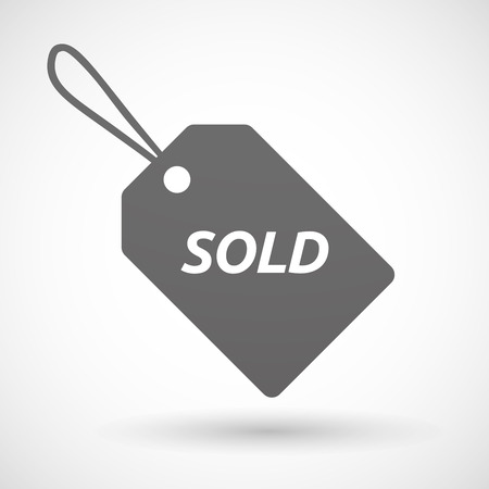 stock price quote: Illustration of an isolated product label icon with    the text SOLD